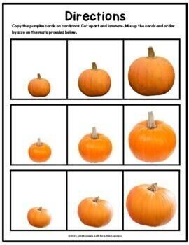 Pumpkin Match and Order by Size Fall Math Activities for Preschool
