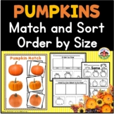 Pumpkin Match and Order by Size Activities for Preschool