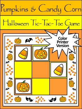 Pumpkin Activities: Pumpkins & Candy Corn Halloween Tic-Tac-Toe Game Activity