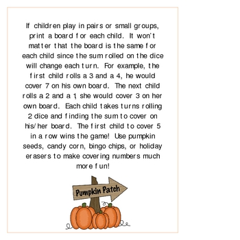 Pumpkin Addition Bingo Game Perfect for Partners