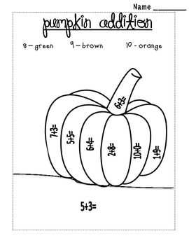 Pumpkin Addition Color by Sum