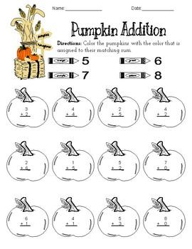 Pumpkin Addition Coloring
