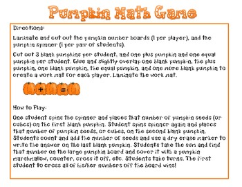 Pumpkin Addition Game