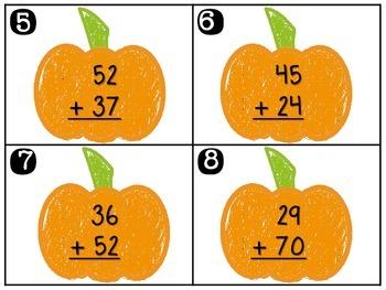 Pumpkin Addition Task Cards - 2-Digit Addition