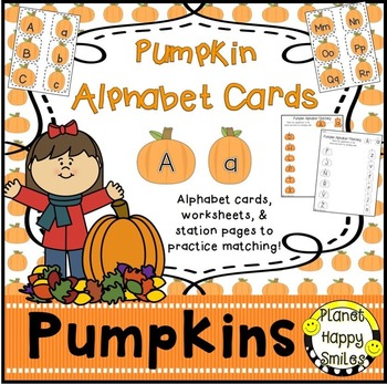 Alphabet Matching Cards ~ Pumpkin, Planet Happy Smiles