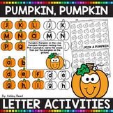 Pumpkin Alphabet Letter Activities   Halloween or October