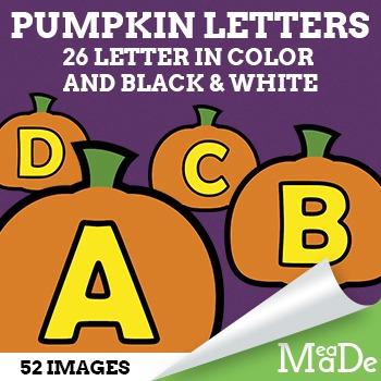 Pumpkin Alphabet Letters Clipart