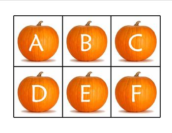 Pumpkin Alphabet Uppercase and Lowercase Memory Game