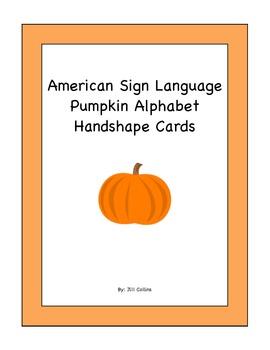 Pumpkin American Sign Language Alphabet Handshape Cards