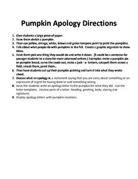 Pumpkin Apologies Creative Letter Writing