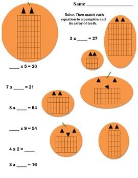Pumpkin Arrays, Multiplication Solve and Match