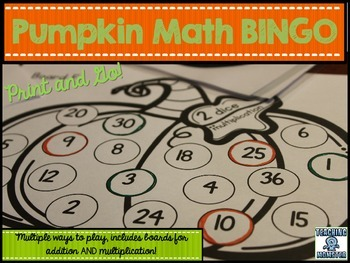 Pumpkin BINGO game--addition and multiplication