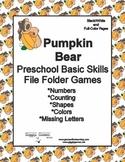 Pumpkin Bear Basic Skill File Folder Games
