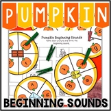 Kindergarten Pumpkin Literacy Center - Beginning Sound Clip Cards