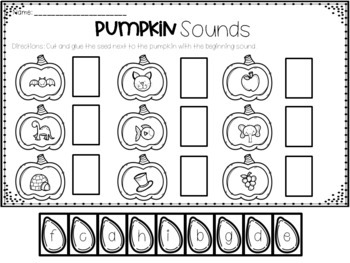 Pumpkin Beginning Sounds and Letters