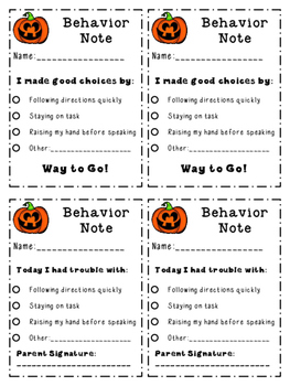 Pumpkin Behavior Note