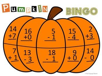 Pumpkin Bingo Addition and Subtraction