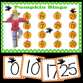 Pumpkin Bingo: Numbers 0 to 25 plus additional resource pages