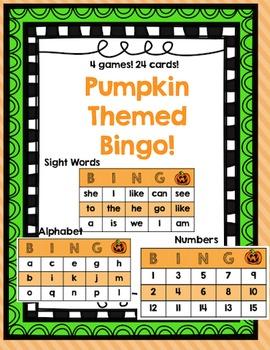 Pumpkin Bingo {Numbers 1-15, Alphabet, sight words}