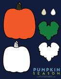 Blank Pumpkin Template and Pumpkin Season Clip Art Set