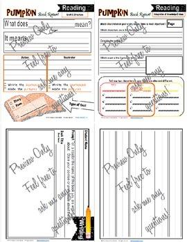 Pumpkin Book Report Kindergarten