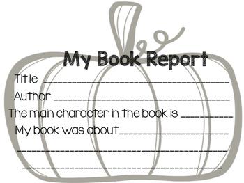 Pumpkin Book Report Project