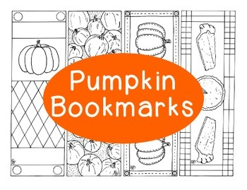 Pumpkin Bookmarks Autumn Fall Thanksgiving Printable Coloring Page PDF