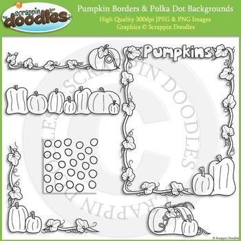 Pumpkin Borders & Polka Dot Backgrounds