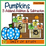 Pumpkin Build 3 Addend Addition & Subtraction Number Sentences