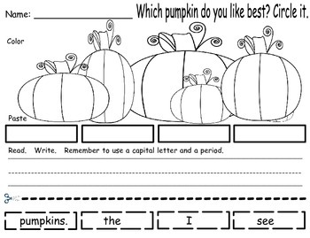 Pumpkin - Build A Sentence FREEBIE