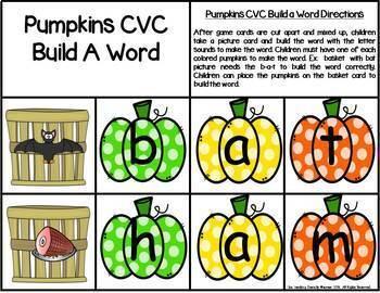 Pumpkin Build a CVC Word Phonics Center