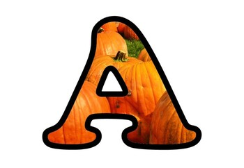 Pumpkin Bulletin Board Letters, Numbers and Symbols, Fall, Harvest Display