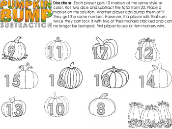 Pumpkin Bump  Halloween themed Addition and Subtraction game