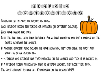 Pumpkin Bump -kin Fall Multiplication Game