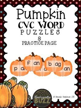 Pumpkin CVC Puzzles & Practice Sheet