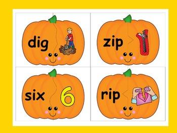 Pumpkin CVC Word Puzzles