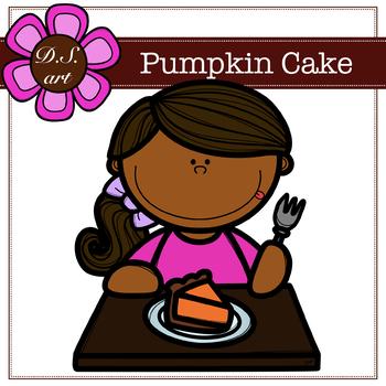 Pumpkin Cake Digital Clipart (color and black&white)