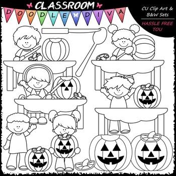Pumpkin Carving Kids - Clip Art & B&W Set
