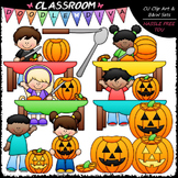 Pumpkin Carving Kids - Clip Art & B&W Set