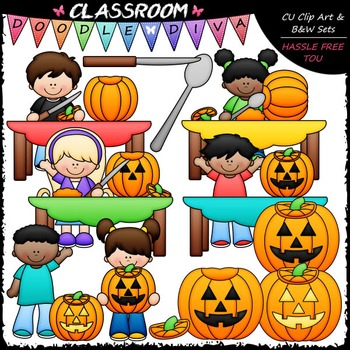 Pumpkin Carving Kids Clip Art - Halloween Sequence Clip Art