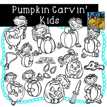 Pumpkin Carving Kids Fall Clip Art Kid-E-Clips Commercial and Personal