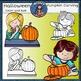 Pumpkin Carving Kids clip art- color and B&W