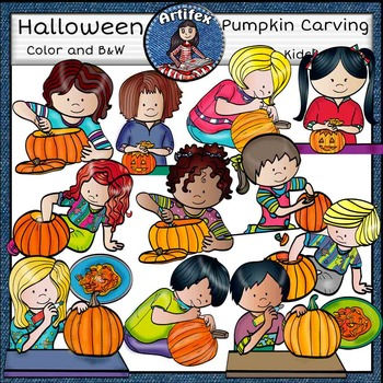 Pumpkin Carving Kids clip art- color and B&W