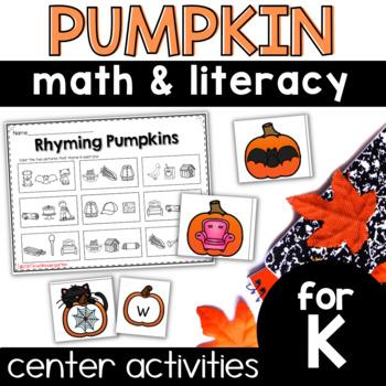 Pumpkin Centers 8 math and Literacy Games for Kindergarten