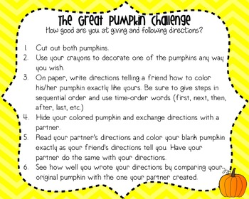 Pumpkin Challenge {Following Directions}