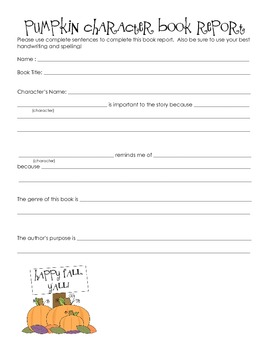 Pumpkin Character Book Report Form