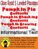 Pumpkin Chucking, Pumpkin Pie, Growing Contests CLOSE READING 5 LEVEL PASSAGES!!