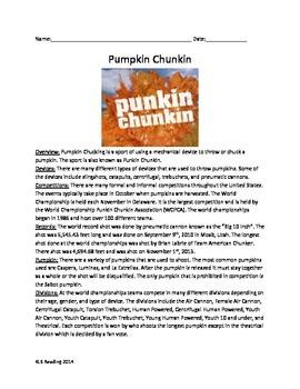 Pumpkin Chucking or Punkin Chuckin - Fun review article questions activities