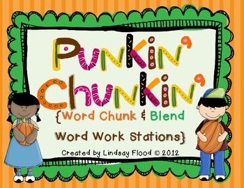 Pumpkin Chunkin' {Word Chunks & Blends Word Work Centers}