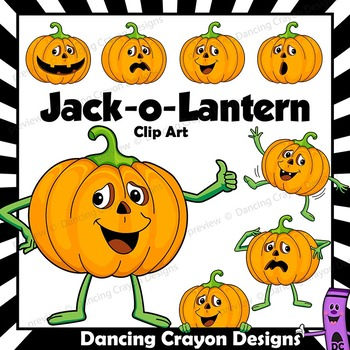 Pumpkin Clip Art | Pumpkin Character Jack-O-Lantern Clipart
